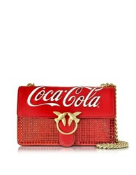 Pinko Love Cioccolato Red Leather Shoulder Bag W Golden Chain