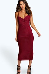 Boohoo Wrap Bust Rouched Slinky Midaxi Dress Berry