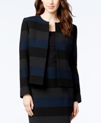 Tahari Asl Striped Open Front Blazer Black Navy