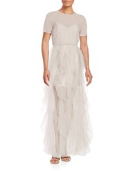 Bcbgmaxazria Tierra Short Sleeve Tiered Chiffon Fit And Flare Gown Beige