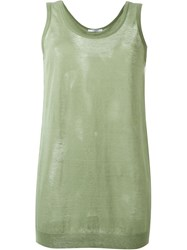 Givenchy Ribbed Hem Sheer Tank Green