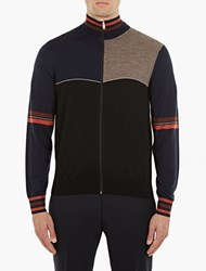 Paul Smith Navy Zip Up Panelled Wool Cardigan