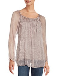 Saks Fifth Avenue Print Front Silk Georgette Blouse Grey