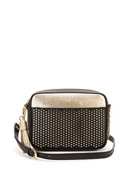 Kenneth Cole Dover Street Leather Perforated Crossbody Bag Black Gold