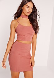 Missguided Choker Neck Ribbed Cami Crop Top Pink Rose