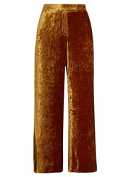 A.L.C. Robbie Cropped Wide Leg Velvet Trousers Gold