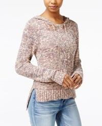 American Rag High Low Hooded Sweater Only At Macy's Dusty Coral Combo