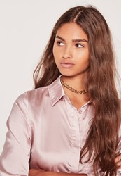 Missguided Chain Link Choker Gold Gold