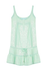 Melissa Odabash Embroidered Jersey Tank Dress Green