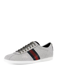 Gucci Men's Glitter Web Sneaker With Stud Detail Silver Size 10.5G 11.5Us
