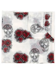 Alexander Mcqueen Skull And Rose Stamped Scarf White