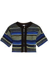 M Missoni Knitted Cotton Blend Shrug Blue