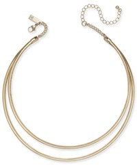 Inc International Concepts Gold Tone Two Row Metal Collar Necklace Only At Macy's