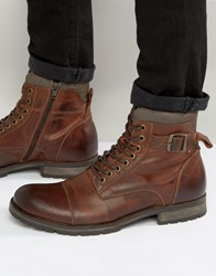 Jack And Jones Albany Leather Boots Brown