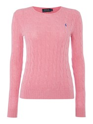 Polo Ralph Lauren Julianna Cable Wool Crew Neck Jumper Pink