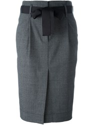 Brunello Cucinelli Bow Detail Pencil Skirt Grey