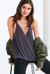 Silence And Noise Farin Deep V Chain Strap Cami Black