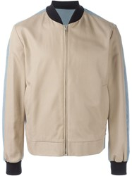 Msgm Colour Block Bomber Jacket Nude And Neutrals