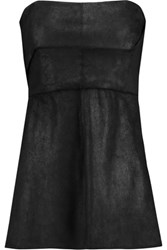 Rick Owens Anthem Strapless Coated Suede Top Black