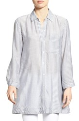 Bobeau Women's Poplin Tunic Shirt With Pockets White Black