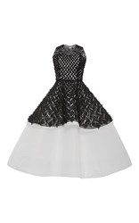 Elizabeth Kennedy Two Tiered Embroidered Cocktail Dress Black White