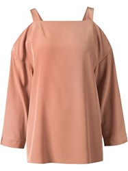 Tibi Off Shoulder Blouse Pink And Purple