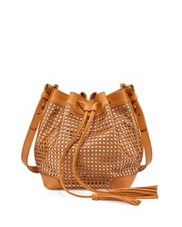 Cynthia Vincent Addison Perforated Leather Crossbody Bag Buff