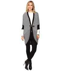 Brigitte Bailey Swiss Cut Cocoon Buckle Cardigan Black White Women's Sweater