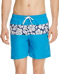 Trunks Color Block Hibiscus Print Swim Trunks Blue Sea Polka Hibiscus