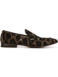 Henderson Baracco 'Moro' Animal Print Loafers Black