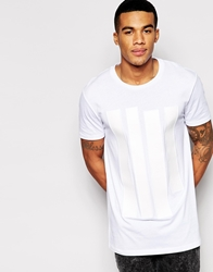 Asos T Shirt With Leather Look Applique Panels And Relaxed Skater Fit White