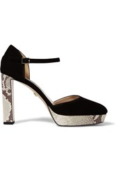 Diane Von Furstenberg Mika Suede And Snake Effect Leather Pumps Black
