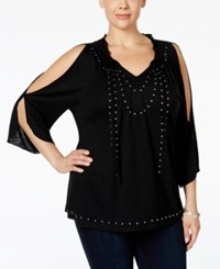Inc International Concepts Plus Size Cold Shoulder Studded Peasant Top Only At Macy's Deep Black