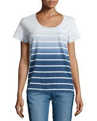 Nanette Nanette Lepore Constance Striped Scoop Neck Tee Blue Wave Wash
