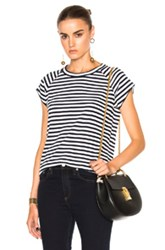Nili Lotan Short Sleeve Baseball Tee In Black White Stripes Black White Stripes