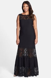 Tadashi Shoji Pintuck A Line Gown With Embroidered Lace Plus Size Black