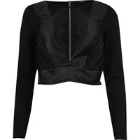 River Island Womens Black Ribbed Satin Plunge Crop Top