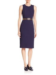 Michael Kors Stretch Boucle Crepe Grommeted Leather Sheath Dress Maritime