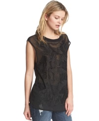 Kiind Of Sheer Embroidered Top Black