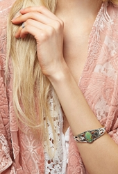Forever 21 Peyote Bird Turquoise Cuff Green Silver