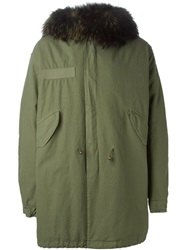 Mr And Mrs Italy Racoon Fur Trim Hooded Parka Green