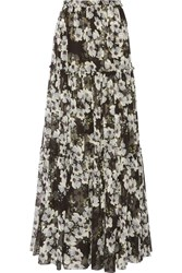Erdem Sigrid Tiered Printed Silk Georgette Maxi Skirt Black Gray