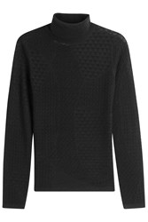 Diane Von Furstenberg Merino Wool Silk Pointelle Turtleneck Black
