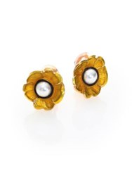 Oscar De La Renta Floral Resin And Faux Pearl Clip On Stud Earrings Lemon