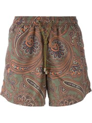 Etro Paisley Print Swim Shorts Brown