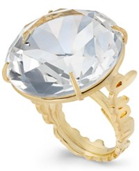 Kate Spade New York Gold Tone Clear Crystal Cocktail Ring