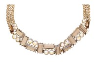 Betsey Johnson Iconic Summer Gem Rhinestone Collar Necklace Topaz Necklace Tan