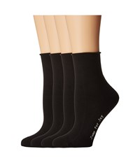 Hue Roll Top Shortie Socks 4 Pack Black Pack Women's Crew Cut Socks Shoes