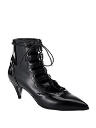 Saint Laurent Patent Leather Lace Up Ankle Booties Nero