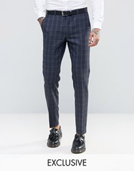Heart And Dagger Skinny Suit Trousers In Brushed Tartan Navy